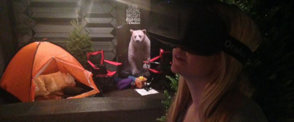 PHOTO: ABC News technology editor Alyssa Newcomb takes a virtual reality tour of British Columbia using an Oculus Rift headset.