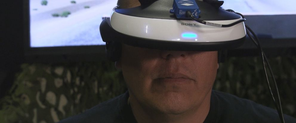PHOTO: Chris Merkle is a US Marine veteran who suffered from PTSD. Thanks to virtual reality, he has been able to start his healing process.