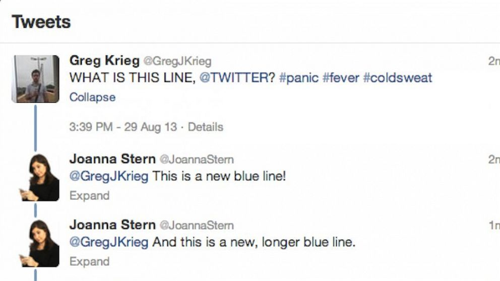 78de79ff8667d Twitter s New Conversations Feature a Blue Line Causing Some Twitter Users  to Feel Blue - ABC News