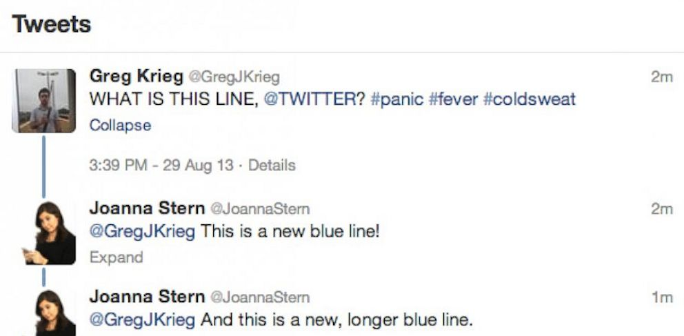 PHOTO: Twitter added a new conversation view or blue line to Twitter.
