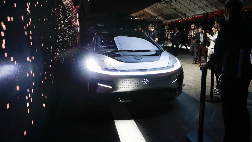 Faraday Future's FF91 electric car is unveiled during a news conference at CES International, Jan. 3, 2017, in Las Vegas.