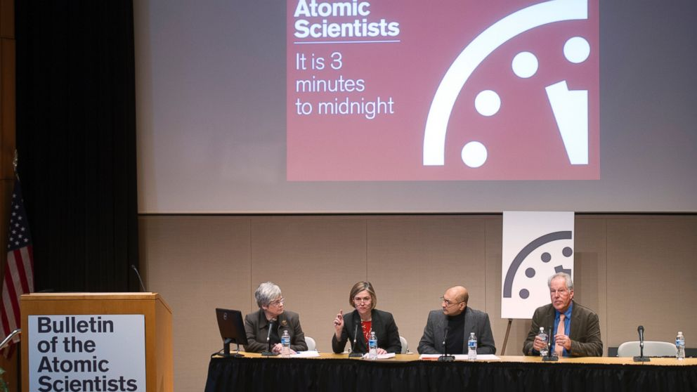 The Bulletin of the Atomic Scientists hold a news conference to announce that the Doomsday Clock has been reset to show three minutes until midnight, in Washington on Jan. 22, 2015.