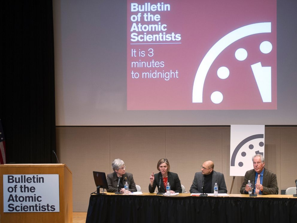 PHOTO: The Bulletin of the Atomic Scientists hold a news conference to announce that the Doomsday Clock has been reset to show three minutes until midnight, in Washington on Jan. 22, 2015.
