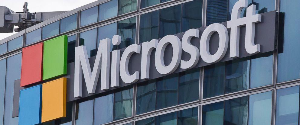 PHOTO: Microsoft logo is seen in Paris, April 12, 2016.
