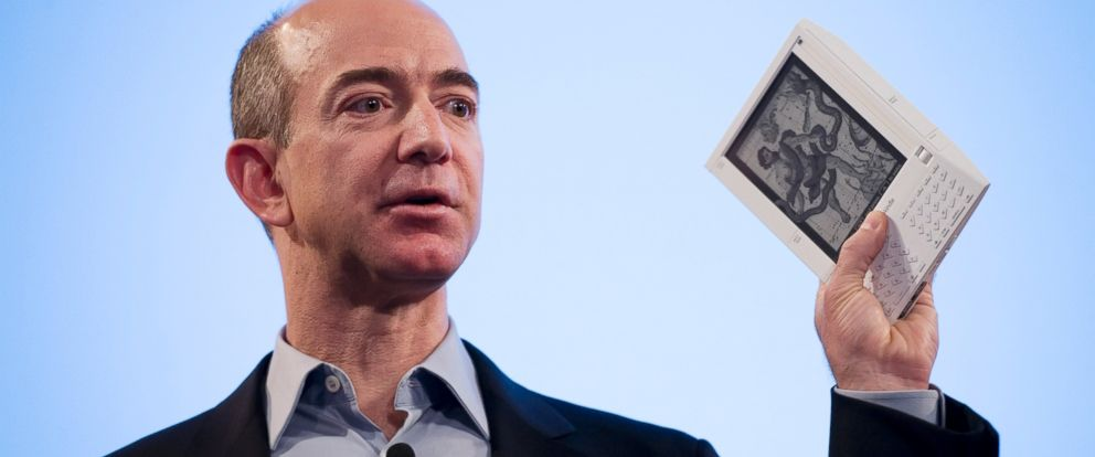 PHOTO: Jeff Bezos, founder and CEO of Amazon.com, introduces the Kindle at a news conference in this Nov. 19, 2007 file photo in New York.