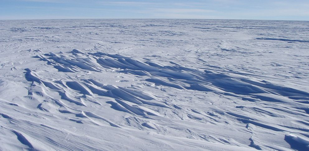 PHOTO: Sastrugi stick out from the snow surface in this photo near Plateau Station in East Antarctica in 2008. A new look at NASA satellite data revealed that Earth set a new record for coldest temperature recorded in East Antarctica.