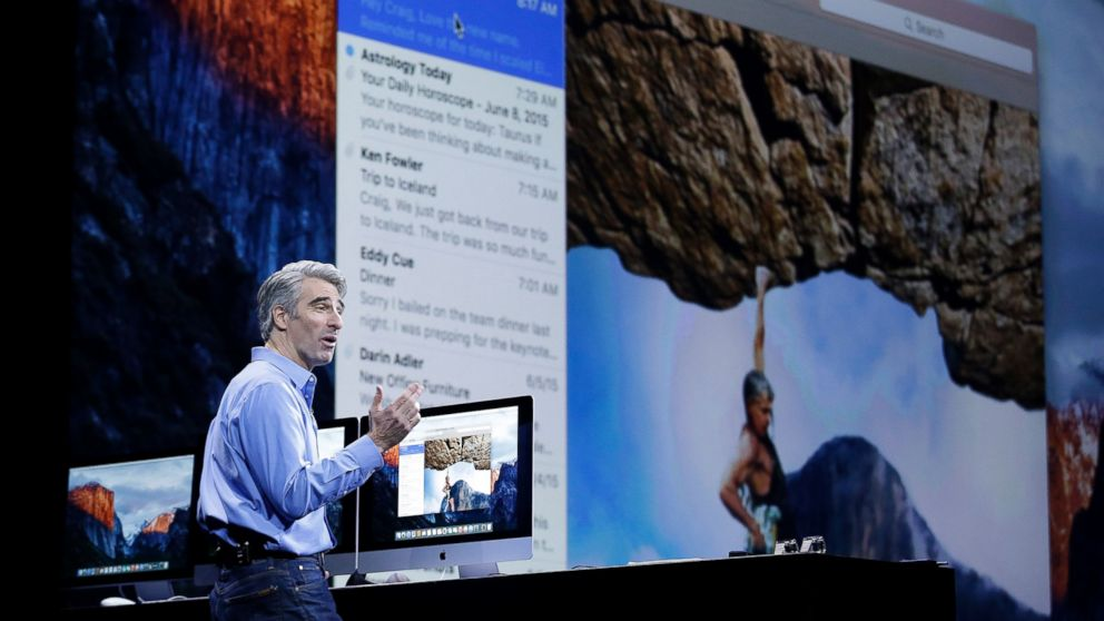 Craig Federighi, Apple senior vice president of Software Engineering, talks about the El Capitan operating system at the Apple Worldwide Developers Conference in San Francisco, June 8, 2015.