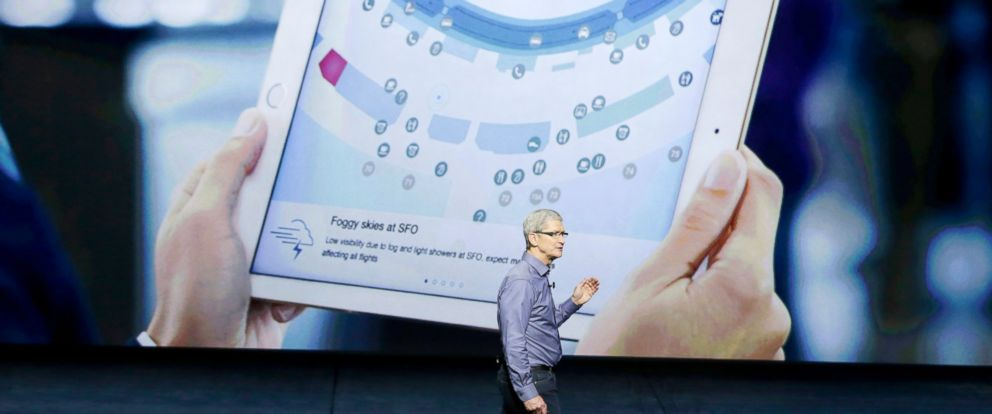 PHOTO: Apple CEO Tim Cook discusses the new iPad during the Apple event at the Bill Graham Civic Auditorium in San Francisco, Sept. 9, 2015.