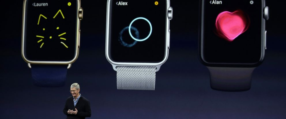 PHOTO: Apple CEO Tim Cook talks about the new Apple Watch