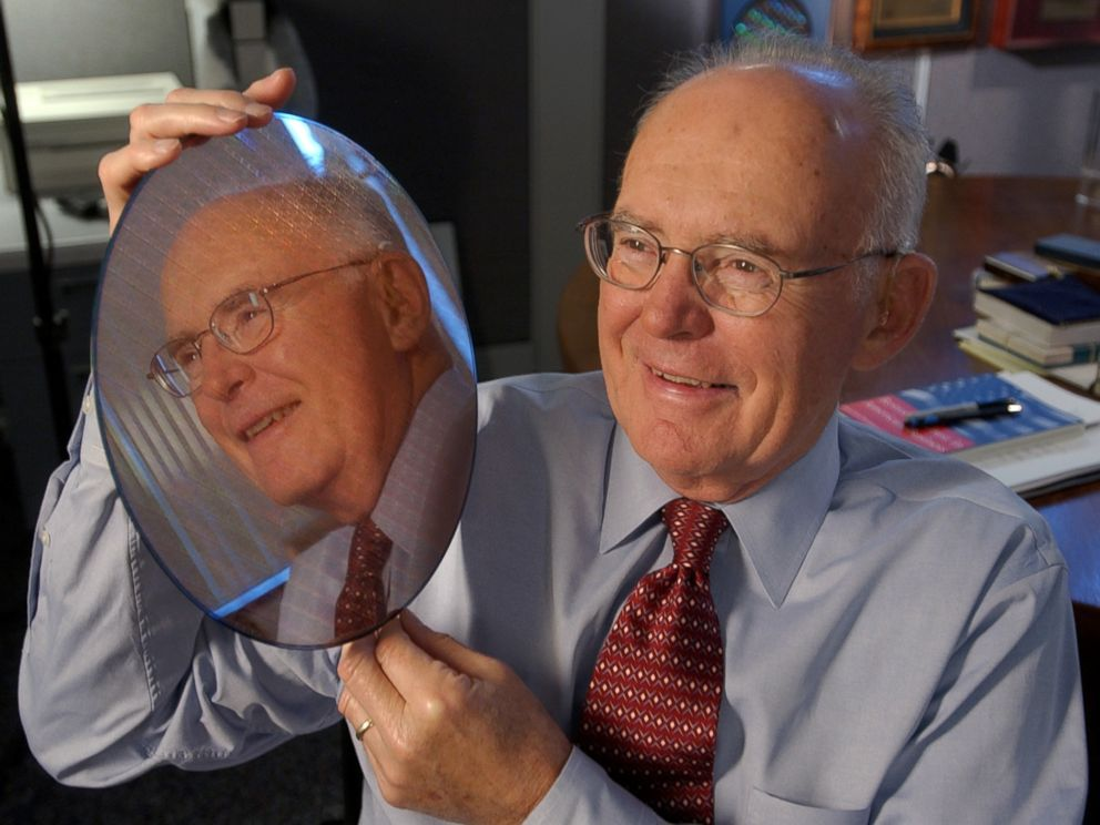 PHOTO: Intel Corp. co-founder Gordon Moore holds up a silicon wafer at Intel headquarters in Santa Clara, Calif., March 9, 2005.