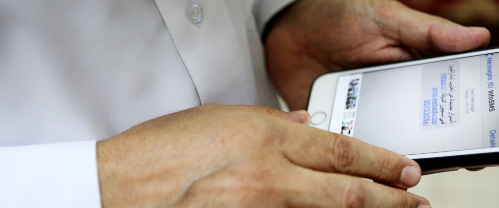 PHOTO: Human rights activist Ahmed Mansoor showsjournalists a screenshot of a spoof text message he received in Ajman, United Arab Emirates, Aug. 25, 2016. Mansoor was recently targeted by spyware that can hack into Apples iPhone handset.