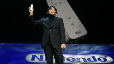 PHOTO: President of Nintendo Co., Ltd., Satoru Iwata, talks about the new Nintendo motion sensing controller for their Wii gaming system in Hollywood, Calif. May 9, 2006.