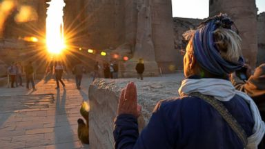 PHOTO: A tourist makes a sunrise visit to the temple of Karnak on the day of the winter solstice in Luxor,320 miles south of Cairo, Egypt, Saturday, Dec. 21, 2013.