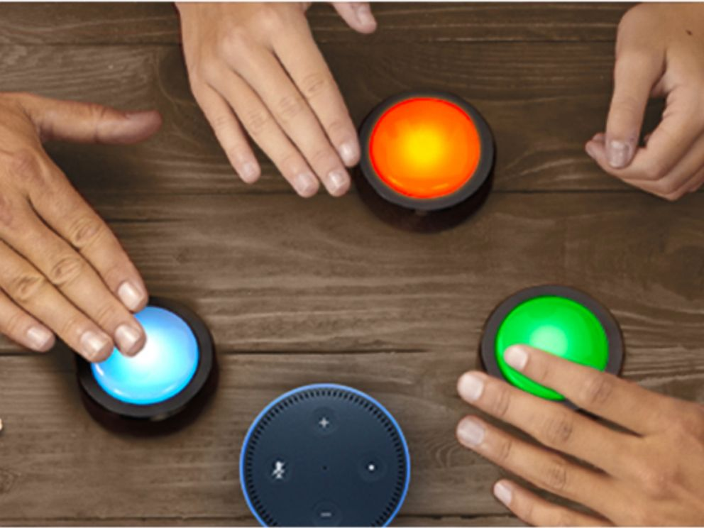 PHOTO: Shown here are the first of many Alexa Gadgets such as Echo Buttons, a new way for customers to play games with friends and family.