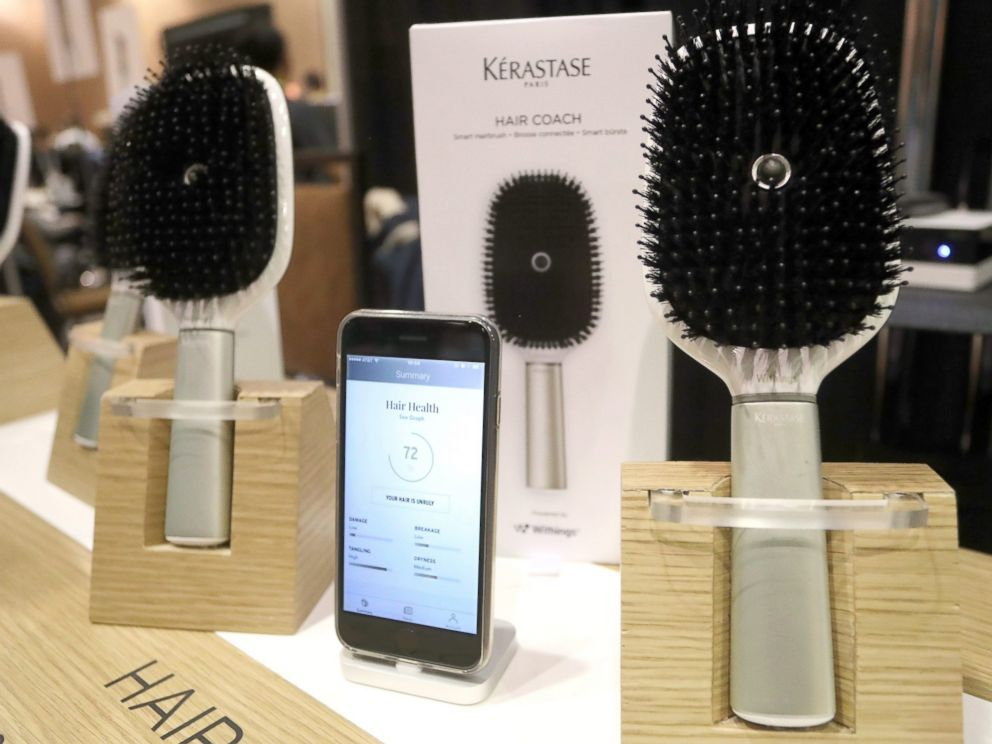 PHOTO: French-made Kerastase smart Hair Coach hairbrush with connectivity to smart phones is displayed at the 2017 International Consumer Electronics Show (CES) in Las Vegas, Jan. 3, 2017.
