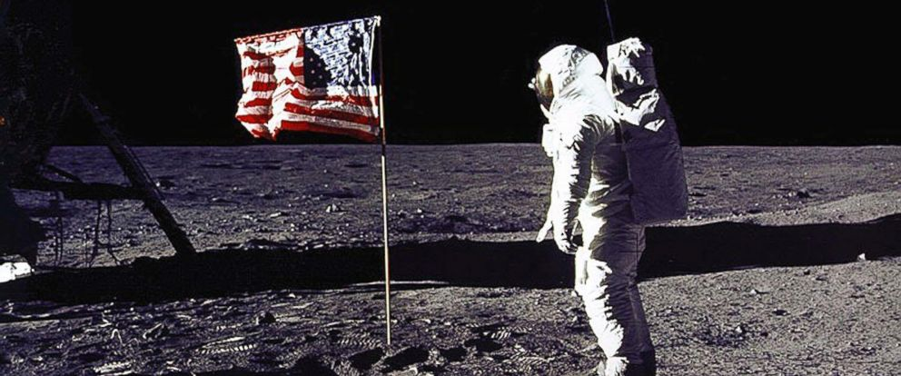 "PHOTO: This July 20, 1969 file photo released by NASA shows astronaut Edwin E. ""Buzz"" Aldrin, Jr. saluting the US flag on the surface of the Moon during the Apollo 11 lunar mission."