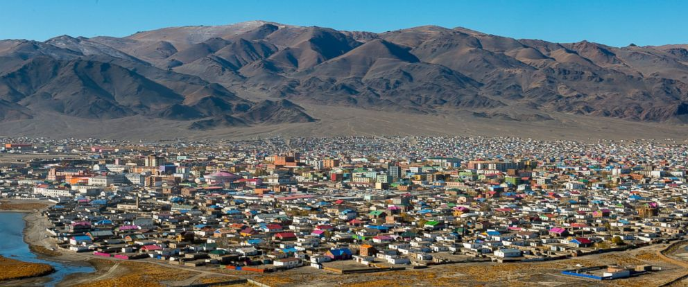 PHOTO: View of the city of Ulgii (Ã?lgii) from the monument to the 75th anniversary of the Bayan-Ulgii Province in western Mongolia.