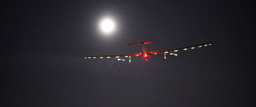 PHOTO: Solar Impulse 2 is pictured shortly after take off from Dayton International Airport, Okla., on its way to Lehigh Valley, Pa.on May 25, 2016. The flight with Bertrand Piccard at the controls is expected to last approximately 17 hours.