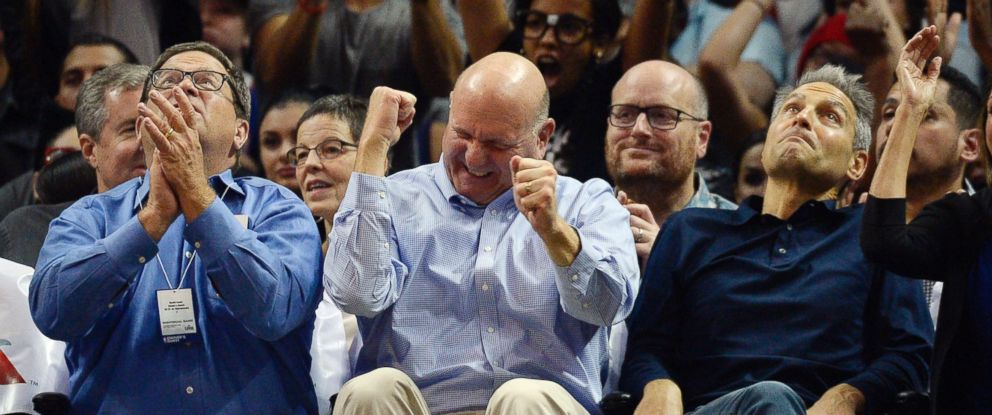 PHOTO: Steve Ballmer center, owner of the Los Angeles Clippers, is seen during the Clippers and Sacramento Kings game at the Staples Center, Oct. 31, 2015, in Los Angeles.