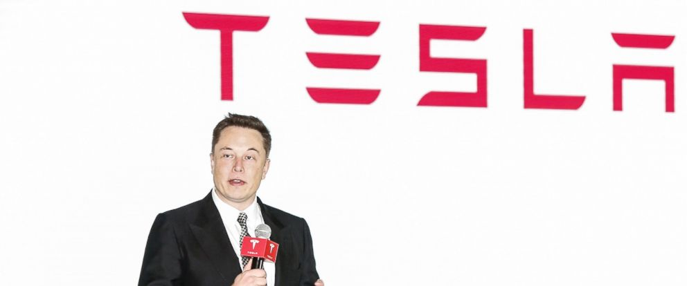 PHOTO: Elon Musk, Chairman, CEO and Product Architect of Tesla Motors, addresses a press conference to declare that the Tesla Motors releases v7.0 System in China, which will enable self-driving features, Oct. 23, 2015 in Beijing, China.
