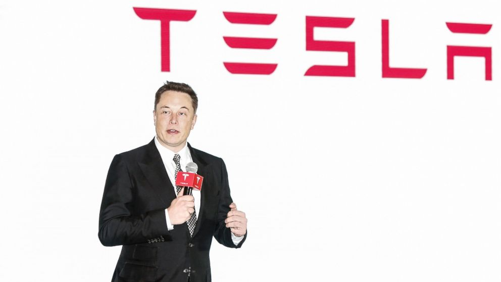Elon Musk, Chairman, CEO and Product Architect of Tesla Motors, addresses a press conference to declare that the Tesla Motors releases v7.0 System in China on a limited basis for its Model S, which will enable self-driving features such as Autosteer for a select group of beta testers, Oct. 23, 2015 in Beijing, China.