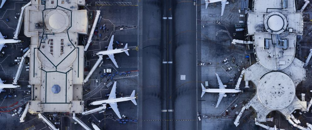 PHOTO: Planes at the gates and control tower are pictured at LAX in Los Angeles.