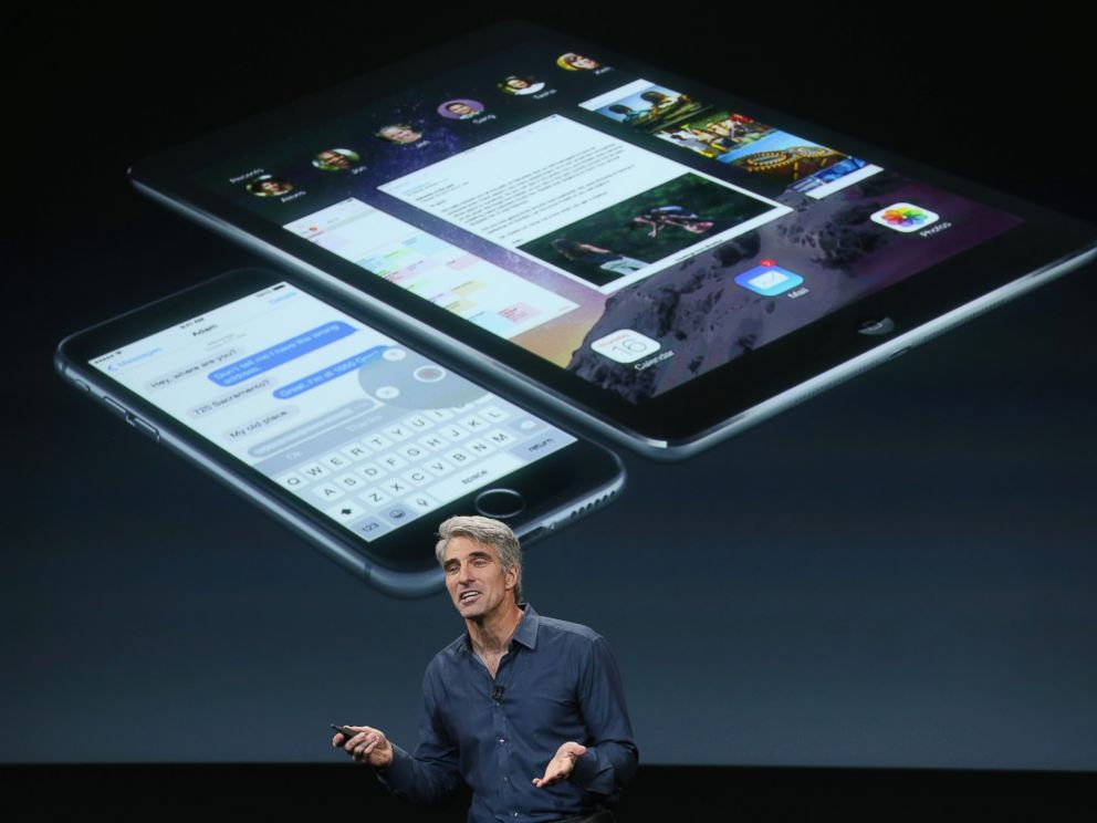PHOTO: Apples Senior Vice President of Software Engineering Craig Federighi speaks during an event introducing new iPads at Apples headquarters Oct. 16, 2014 in Cupertino, Calif.