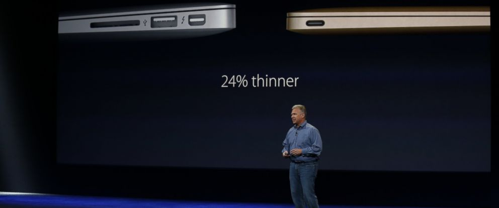 PHOTO: Apple Senior Vice President of Worldwide Marketing Phil Schiller discusses the new MacBook