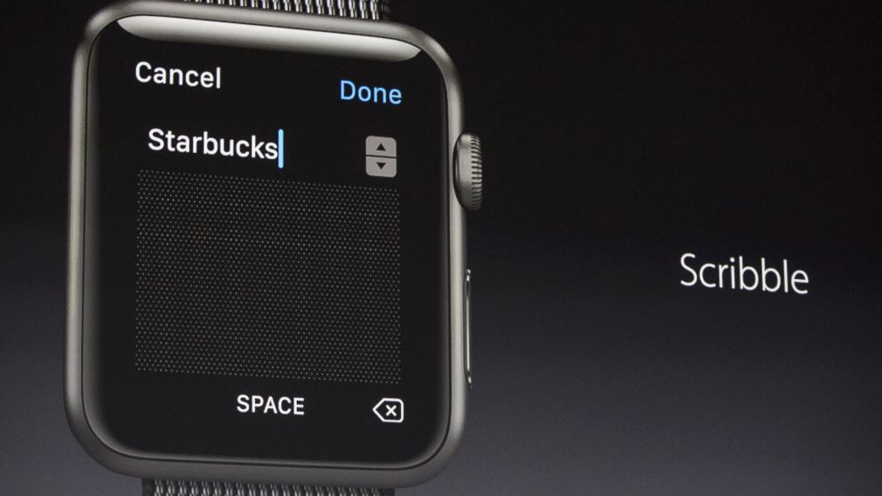 """Apple Vice President of Technology, Kevin Lynch, introduces a new piece of iWatch software called """"Scribble,"""" at an Apple event at the Worldwide Developer's Conference, June 13, 2016, in San Francisco."""