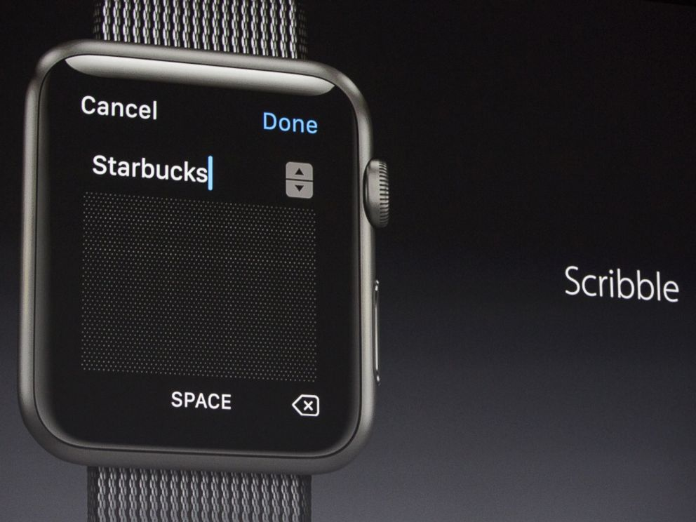 PHOTO: Apple Vice President of Technology, Kevin Lynch, introduces a new piece of iWatch software called Scribble, at an Apple event at the Worldwide Developers Conference, June 13, 2016, in San Francisco.