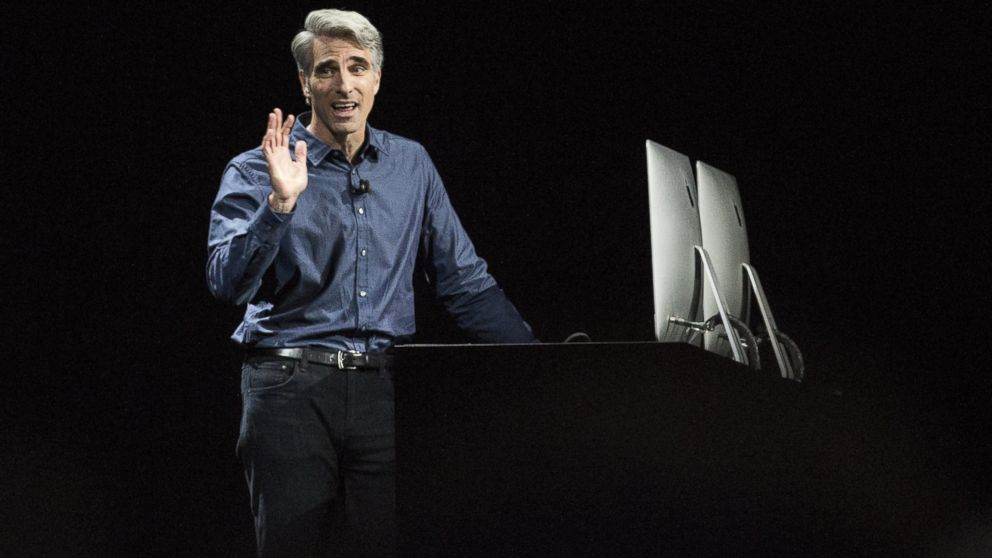 Craig Federighi, Apple's senior vice president of Software Engineering, introduces the new macOS Sierra software at an Apple event at the Worldwide Developer's Conference, June 13, 2016 in San Francisco.