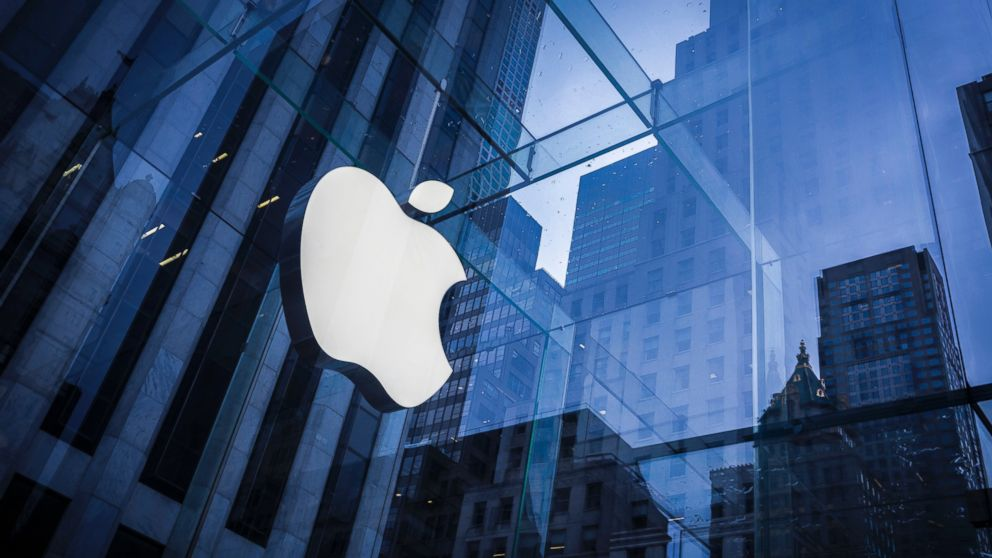 The logo of Apple is seen on an Apple Store in New York. Feb. 25, 2016.
