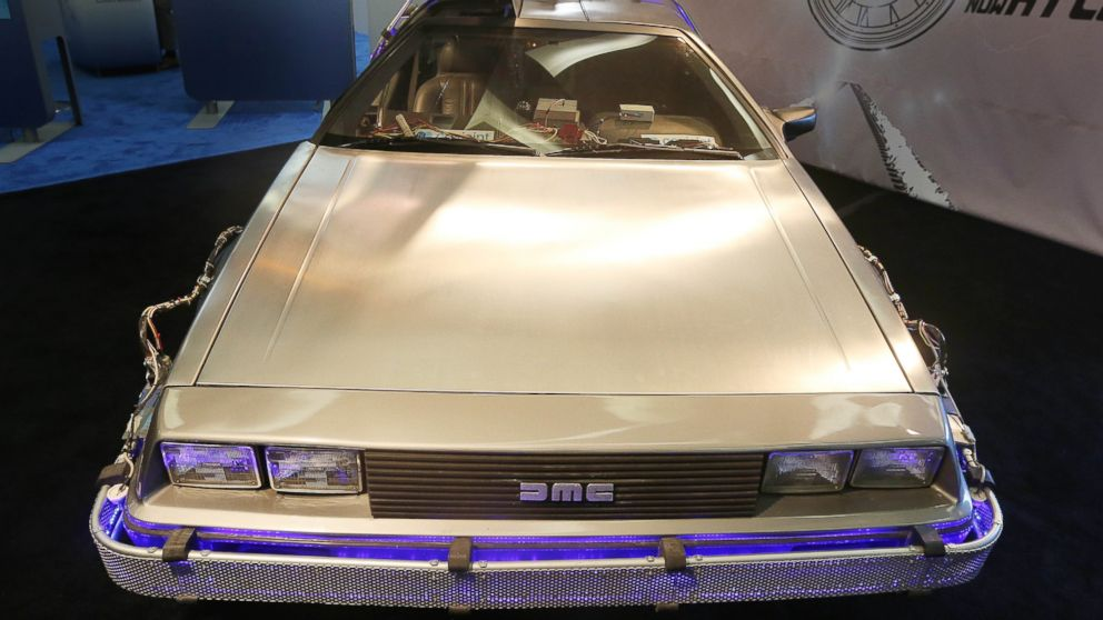 "The DeLorean DMC-12 from ""Back to the Future II"" is pictured in Detroit on Jan. 14, 2014."