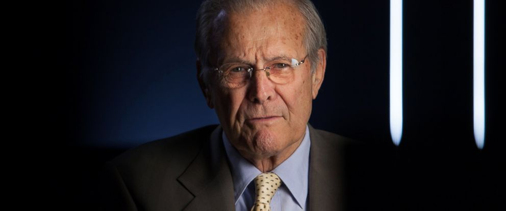 "PHOTO:Former Secretary of Defense Donald Rumsfeld being interviewed for the documentary, ""The Presidents Gatekeepers,"" May 17, 2012 in Washington."