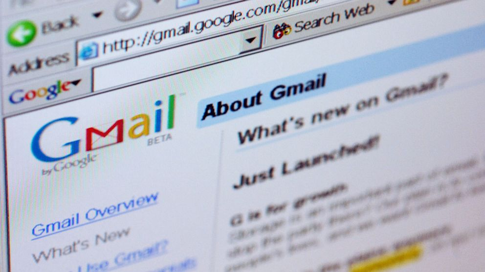 The Gmail logo is pictured on the top of a Gmail.com welcome page in New York, Friday, April 1, 2005.