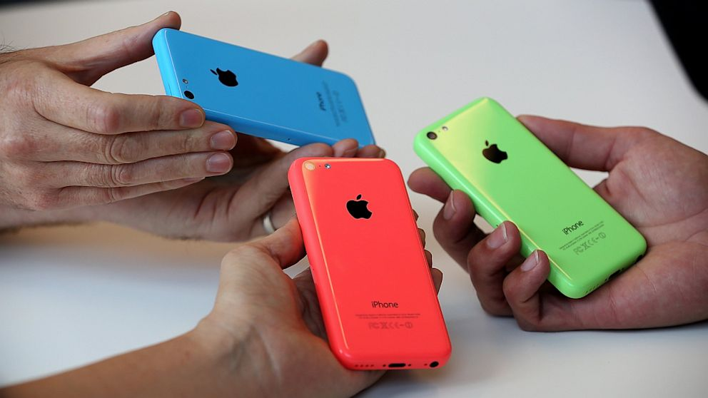 The new iPhone 5C is displayed during an Apple product announcement at the Apple campus on Sept. 10, 2013, in Cupertino, Calif.