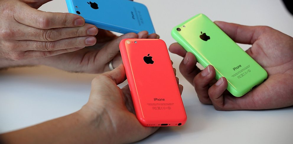 PHOTO: The new iPhone 5C is displayed during an Apple product announcement at the Apple campus on Sept. 10, 2013, in Cupertino, Calif.