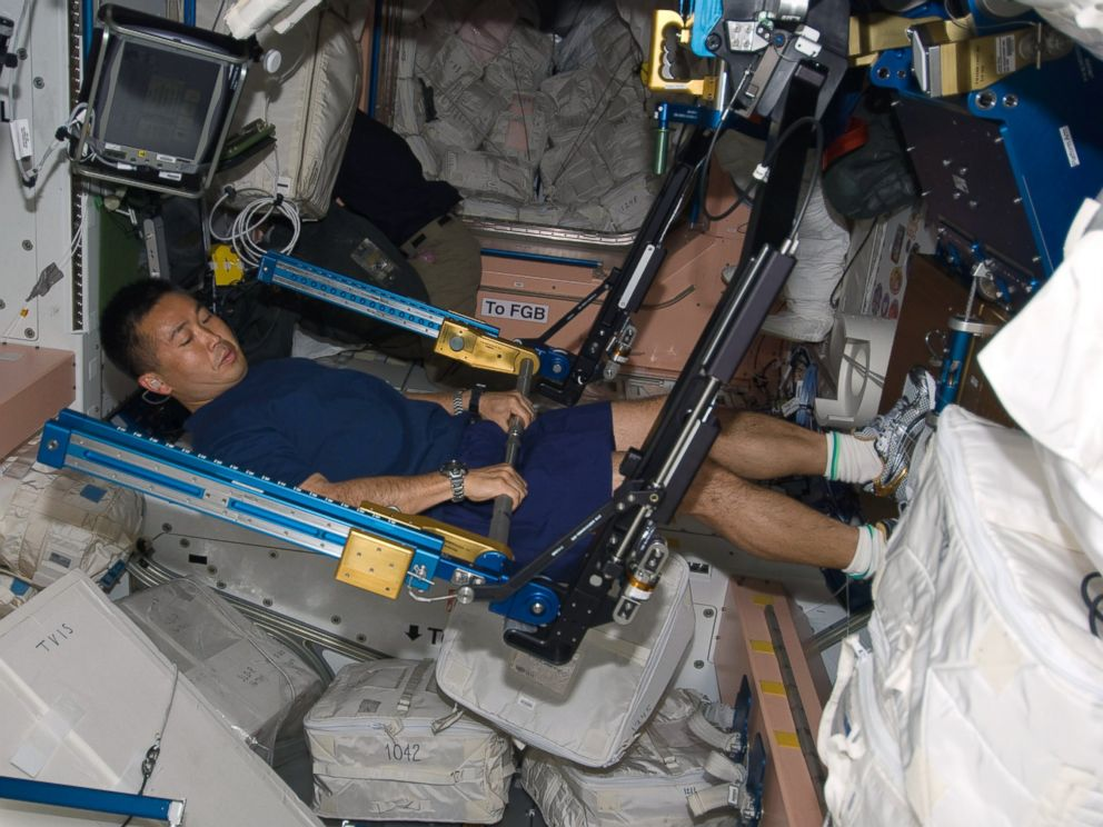 PHOTO: In this photo taken March 20, 2009, astronaut Koichi Wakata works out on the Advanced Resistance Exercise Device