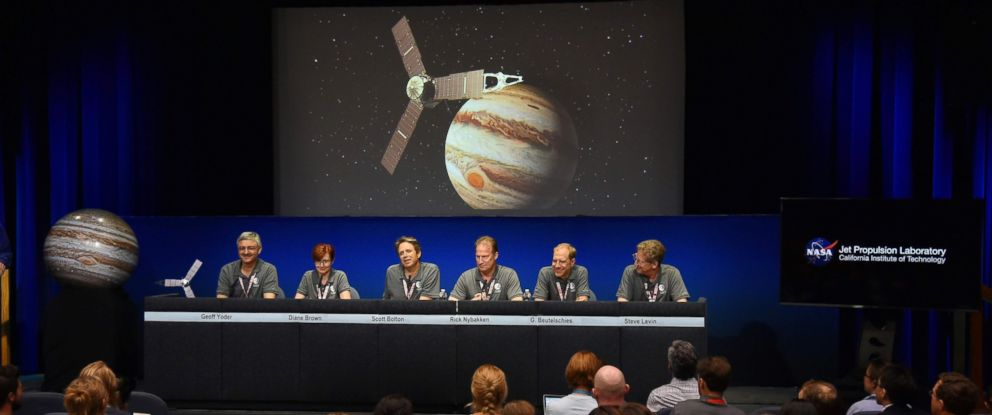 PHOTO: From left, Geoff Yoder, Diane Brown, Scott Bolton, Rick Nybakken, Guy Beutelschies, and Steve Levin attend a press conference after the Juno spacecraft was successfully placed into Jupiters orbit, July 4, 2016.