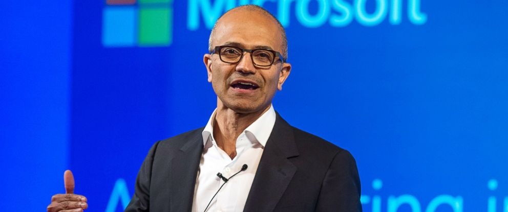 PHOTO: Satya Nadella, chief executive officer of Microsoft Corp., speaks during a news conference in New Delhi, India, Sept. 30, 2014.
