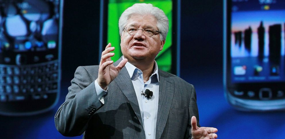 PHOTO: Mike Lazaridis delivers a keynote address at the BlackBerry Devcon Americas