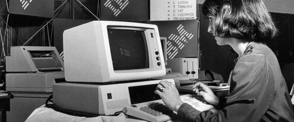 PHOTO: A marketing representative for IBM demonstrates how to use one of the companys computers