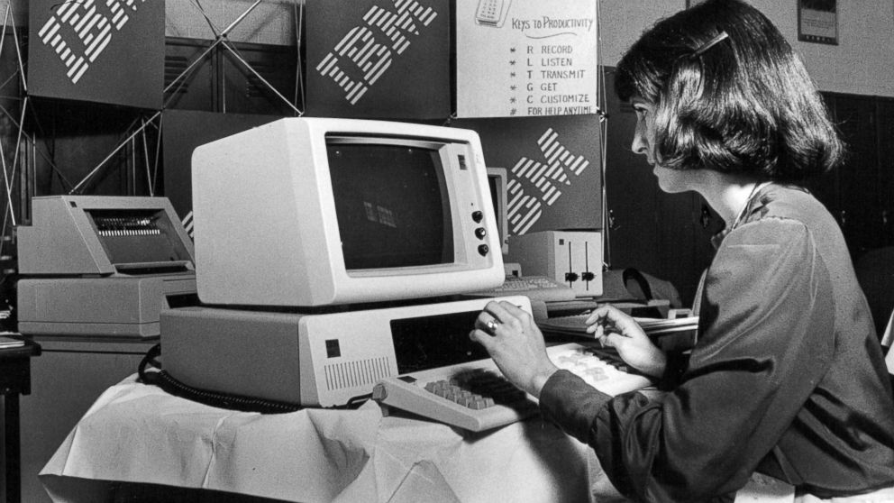 A marketing representative for IBM demonstrates how to use one of the company's computers, May 8, 1983.