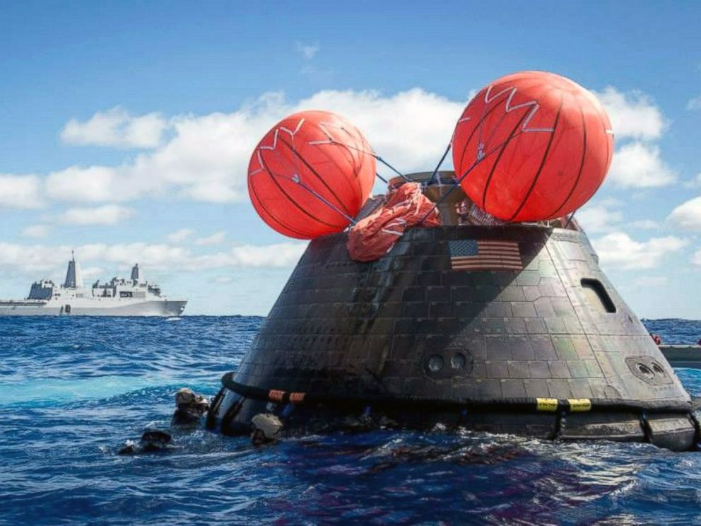PHOTO: The Orion Crew Module is seen during the first Exploration Flight test in the Pacific Ocean, Dec. 5, 2014.