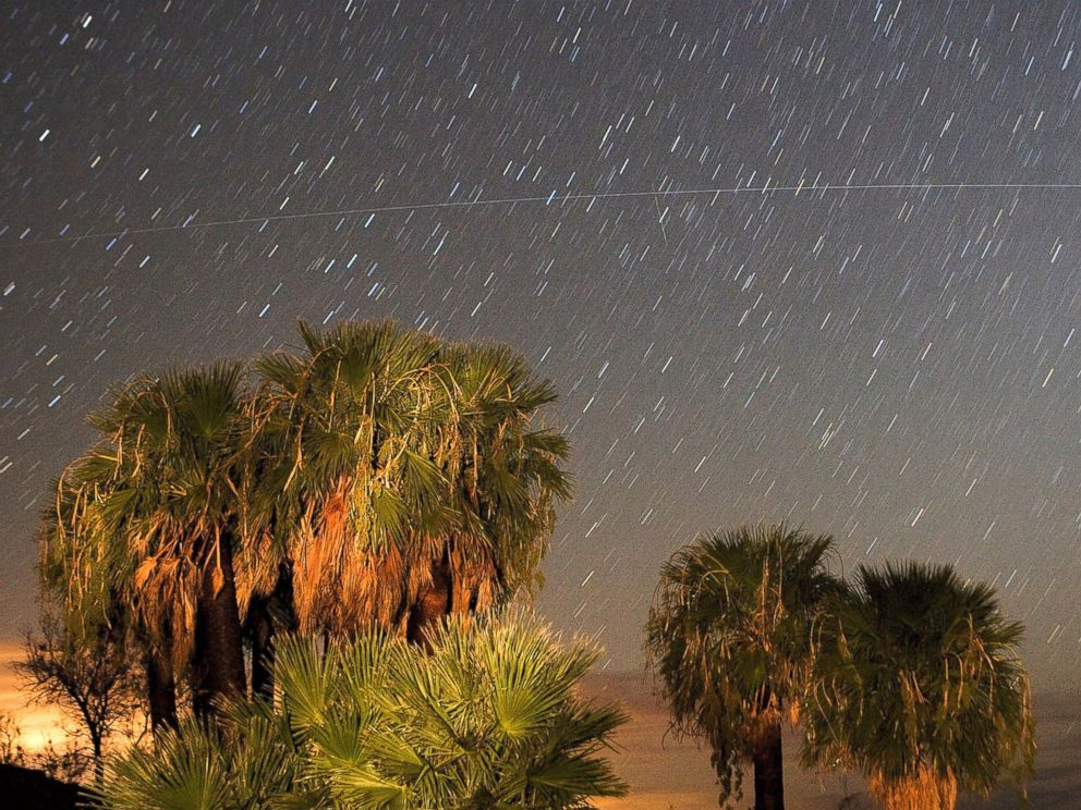 PHOTO: Perseid meteors streak across the sky, Aug. 12, 2008, near Rogers Spring in the Lake Mead National Recreation Area, Nevada.