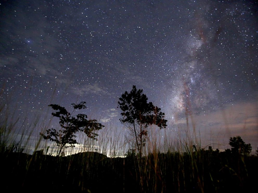 PHOTO: This long-exposure photograph taken, Aug. 12, 2013, shows the Milky Way in the clear night sky near Yangon, Myanmar.