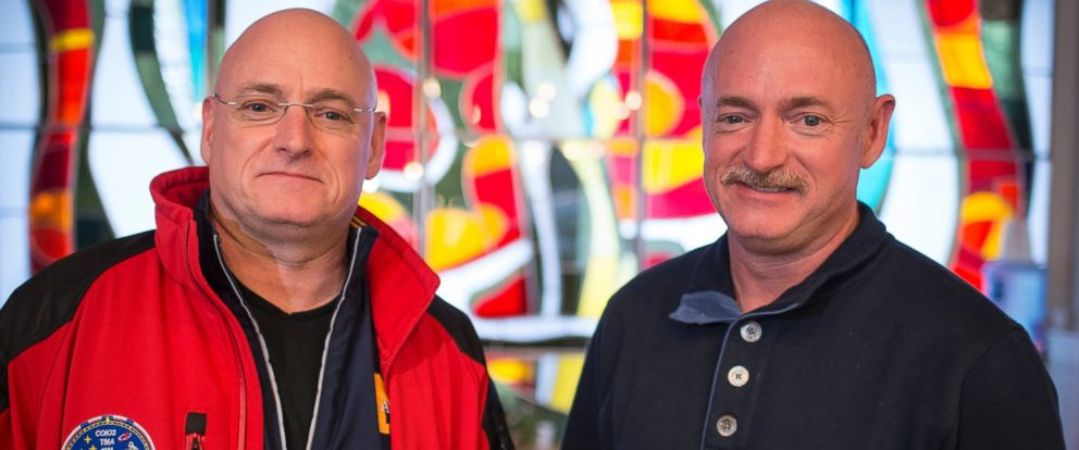PHOTO:Expedition 43 NASA Astronaut Scott Kelly, left, and his identical twin brother Mark Kelly, pose for a photograph, March 26, 2015 at the Cosmonaut Hotel in Baikonur, Kazakhstan.