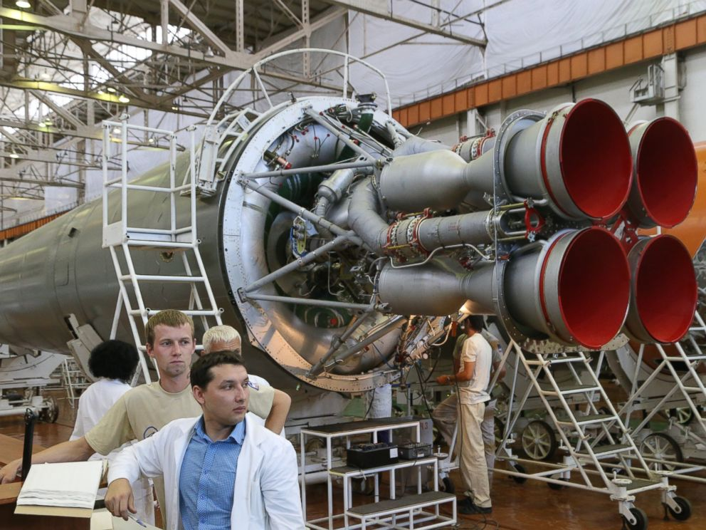 PHOTO: A general view of Soyuz rockets are pictured on July 21, 2014 in Samara, Russia.