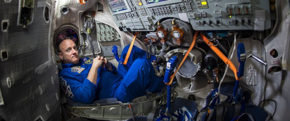 PHOTO: NASA astronaut Scott Kelly is seen inside a Soyuz simulator at the Gagarin Cosmonaut Training Center on March 5, 2015 in Star City, Russia.