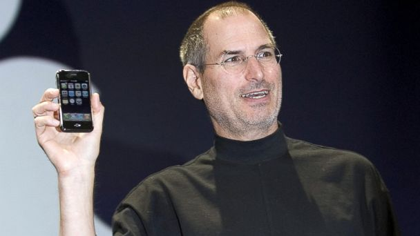 PHOTO: Steve Jobs holds up the new iPhone that was introduced at Macworld, Jan. 9, 2007 in San Francisco.